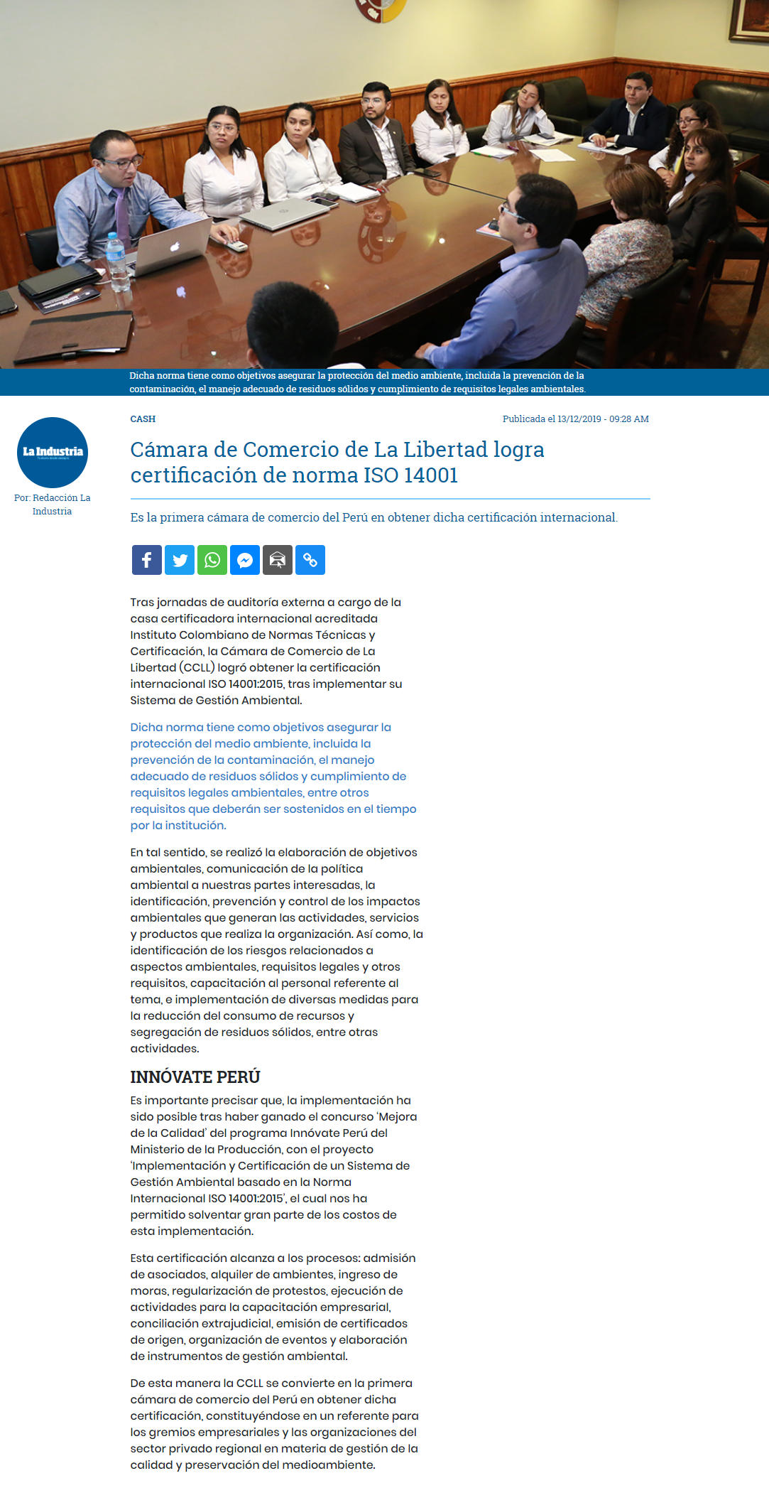 16.12.19.06 LA INDUSTRIA ccll implementa ISO14001
